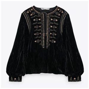 NWT Zara Velvet Embroidered Blouse
